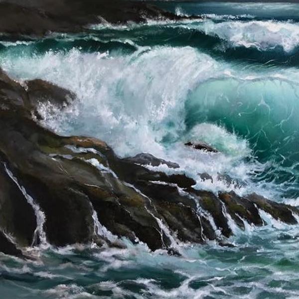 Stormy Southern Coastline by NZ artist Tania jack